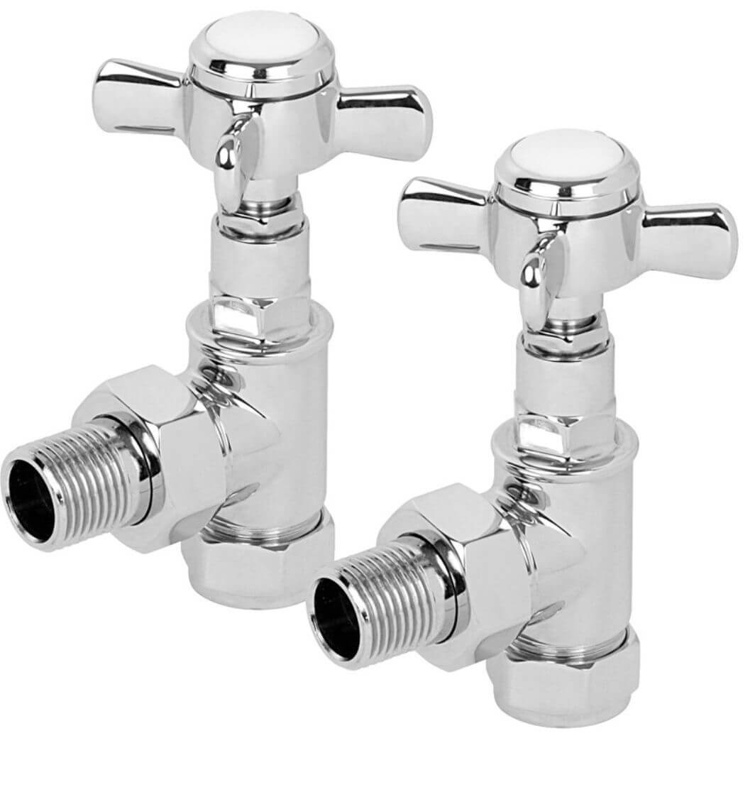 One Pair Traditional Angled Valves Towel Rail Radiator Valves Brass 15mm x 1//2/""