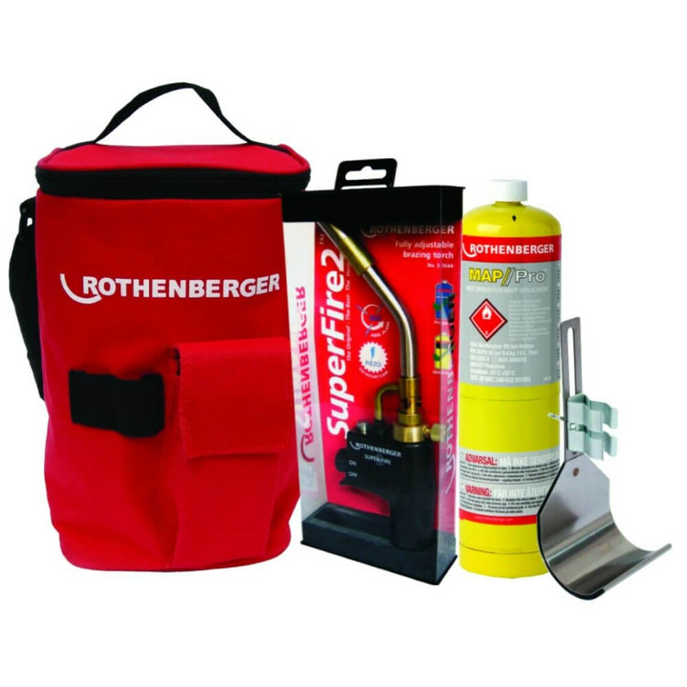 Rothenberger Plumbers Bag Superfire 2 Blow Torch Mapp Gas and Heat Guard